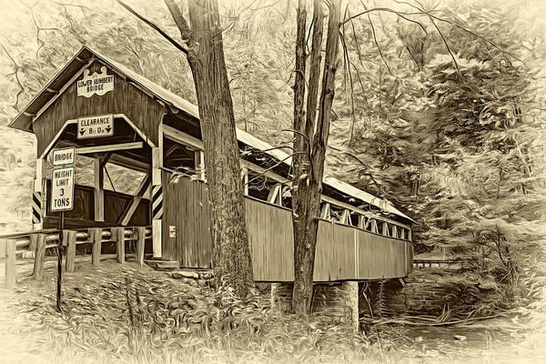 Lower Humbert Covered Bridge - Paint Sepia Art Print