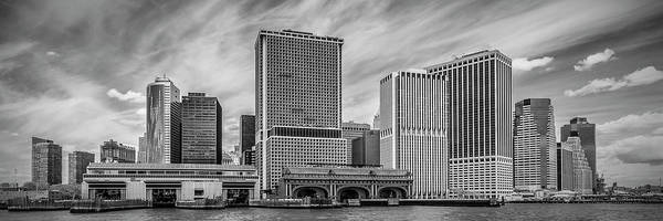 Wall Art - Photograph - Lower Manhattan And Whitehall Terminal - Monochrome Panorama by Melanie Viola