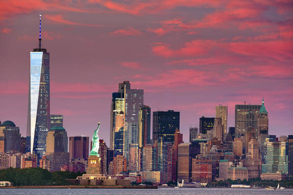 Wall Art - Photograph - Lower Manhattan In Pink by Emmanuel Panagiotakis