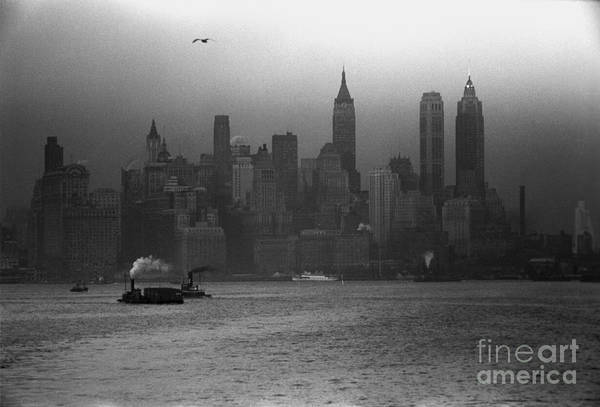 Painting - Lower Manhattan Seen From The S.s. Coamo Leaving New York by Celestial Images