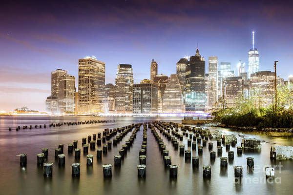 Wall Art - Photograph - Lower Manhattan Skyline Reflected In The East River At Dusk, New by Matteo Colombo