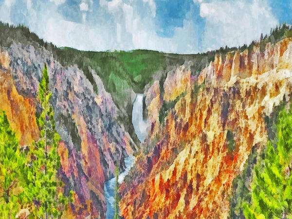 Digital Art - Lower Yellowstone Falls by Digital Photographic Arts