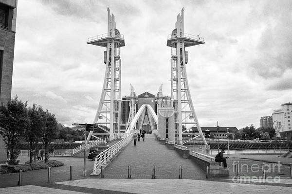 Lowry Photograph - lowry footbridge salford Manchester uk by Joe Fox