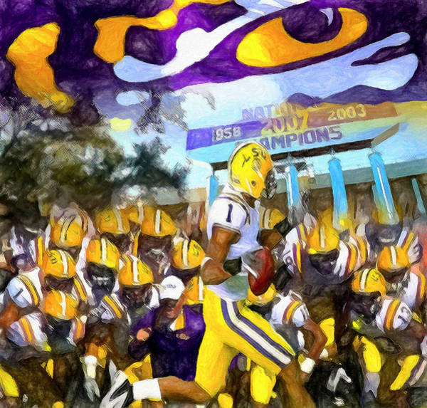 Wall Art - Painting - Lsu Tigers Number One by John Farr