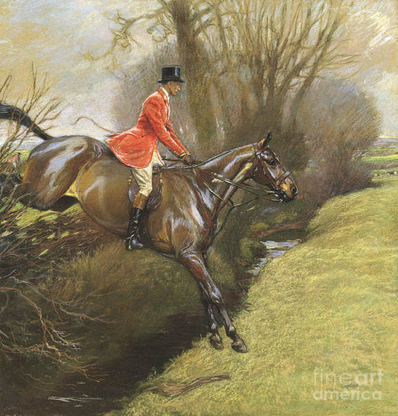 Dressage Wall Art - Painting - Lt Col Ted Lyon Jumping A Hedge by Cecil Charles Windsor Aldin