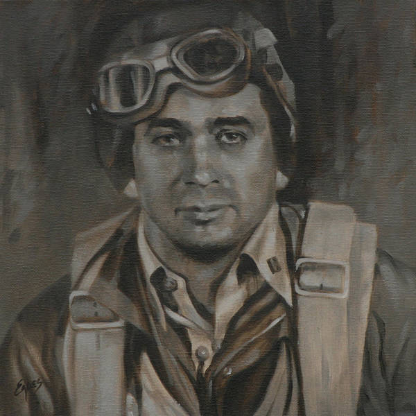 Sepia Painting - Lt Commandor Joe Gibson by Linda Eades Blackburn