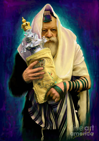 Jewish Wall Art - Painting - Lubavitcher Rebbe With Torah by Sam Shacked