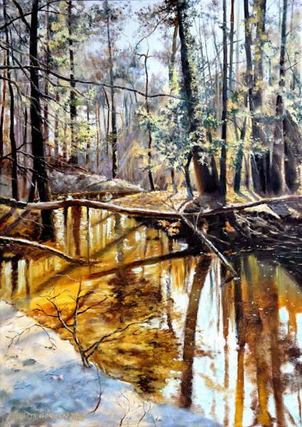 Pine Needles Painting -  Lubianka-2-river by Henryk Gorecki