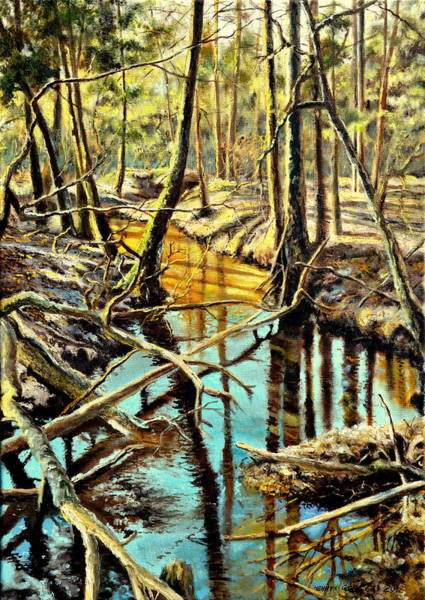 Pine Needles Painting -  Lubianka-3-river by Henryk Gorecki