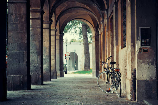 Photograph - Lucca Street Bike Hallway by Songquan Deng