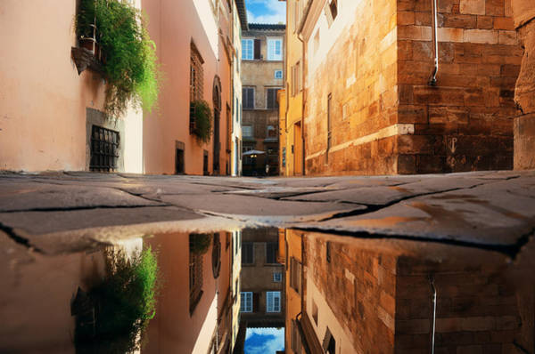 Photograph - Lucca Street Reflection by Songquan Deng