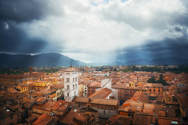 Photograph - Lucca Town Skyline Sun Ray by Songquan Deng