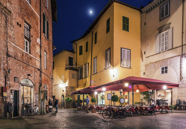 Photograph - Lucca, Tuscany, Italy At Night by Alexandre Rotenberg