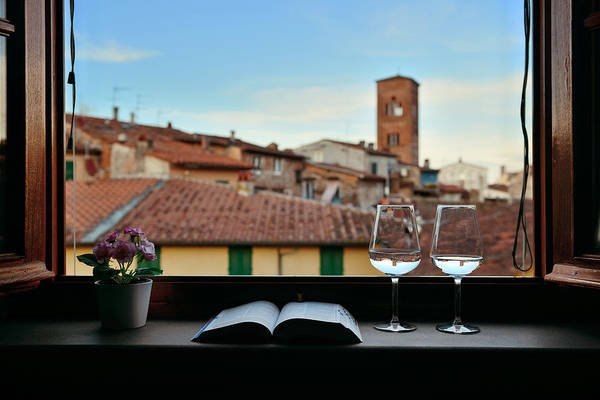 Photograph - Lucca Window View With Wine Book Flower by Songquan Deng