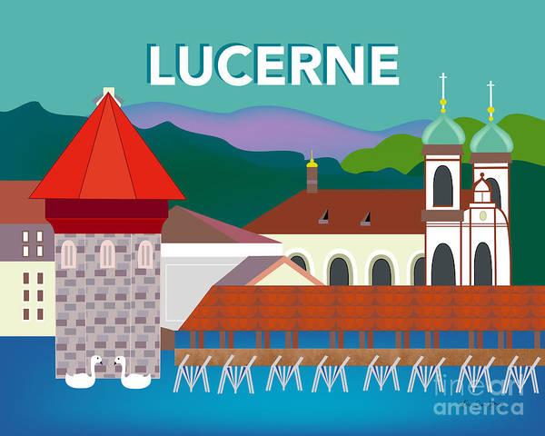 Wall Art - Digital Art - Lucerne Switzerland Horizontal Scene by Karen Young
