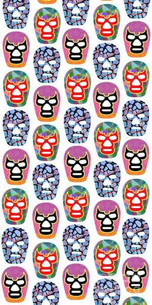 Wall Art - Digital Art - Lucha Libre Masks by Edward Fielding