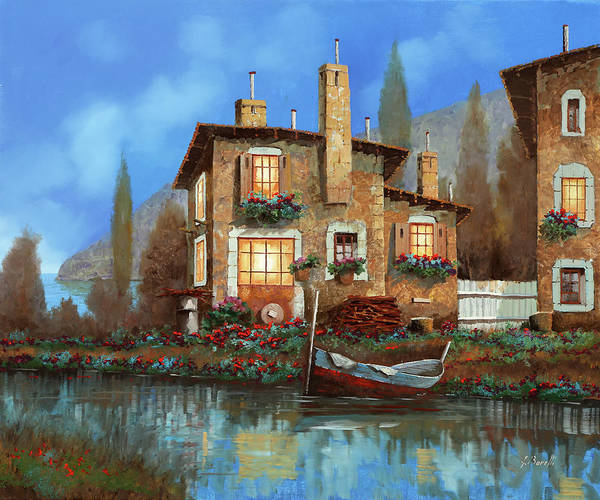 Wall Art - Painting - Luci Nel Blu by Guido Borelli