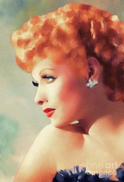Lucille Ball Wall Art - Painting - Lucille Ball, Hollywood Legend by Mary Bassett