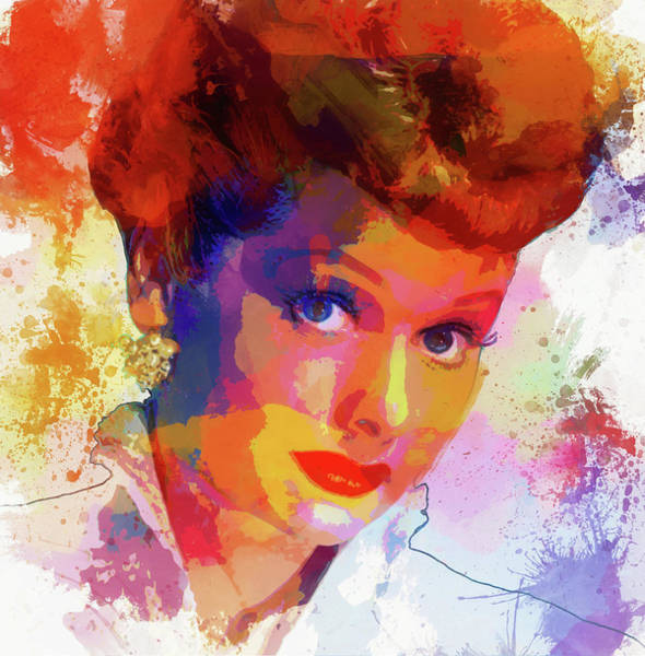 Wall Art - Painting - Lucille Ball Paint Splatter by Dan Sproul