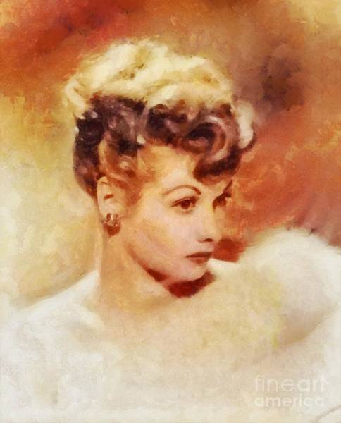 Pinewood Painting - Lucille Ball, Vintage Hollywood Actress by Sarah Kirk
