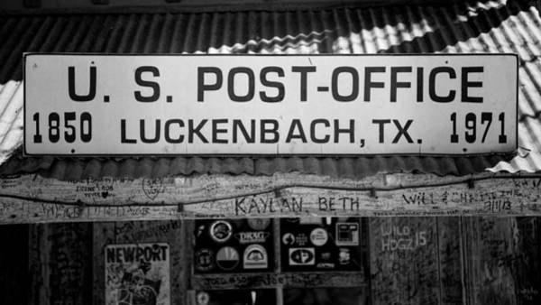Wall Art - Photograph - Luckenbach Tx Post Office Sign by Stephen Stookey