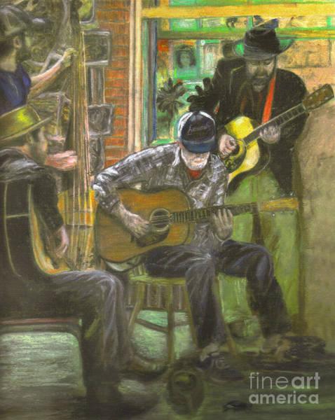 Bass Guitar Painting - Lucky Blue Crawdad Quartet by Janice Bays
