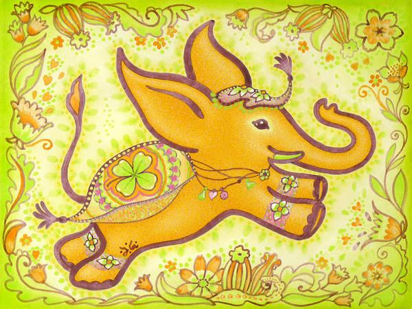 Lucky Clover Painting - Lucky Elephant Orange by Judith Grzimek