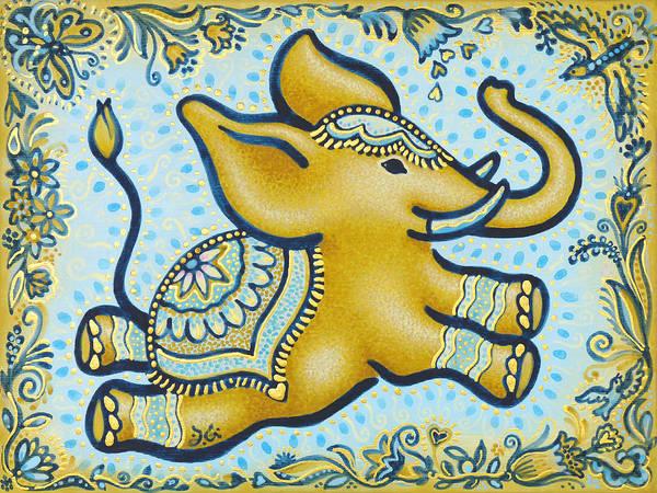 Lucky Charm Painting - Lucky Elephant Sienna by Judith Grzimek