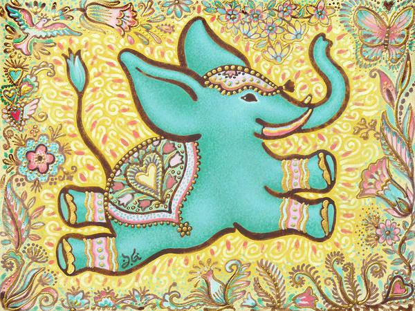 Mojo Painting - Lucky Elephant Turquoise II by Judith Grzimek