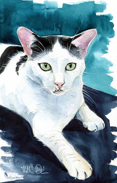 Painting - Lucky Elvis - Cat Portrait by Dora Hathazi Mendes
