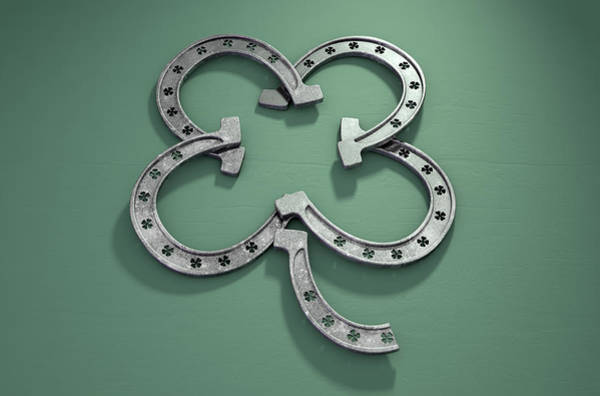 Horse Shoe Digital Art - Lucky Horseshoe Shamrock by Allan Swart