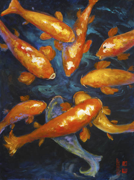 Painting - Lucky Koi by Caroline Patrick