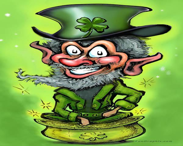 Digital Art - Lucky Leprechaun On Pot Of Gold by Kevin Middleton
