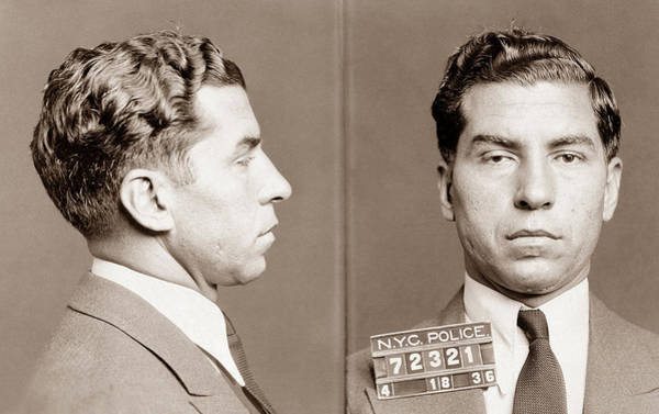 Luciano Wall Art - Photograph - Lucky Luciano Mugshot by War Is Hell Store