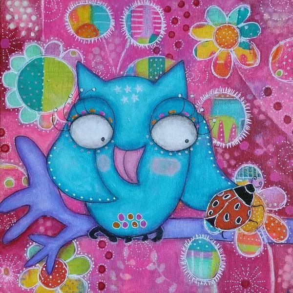 Joyous Mixed Media - Lucky Owl by Barbara Orenya