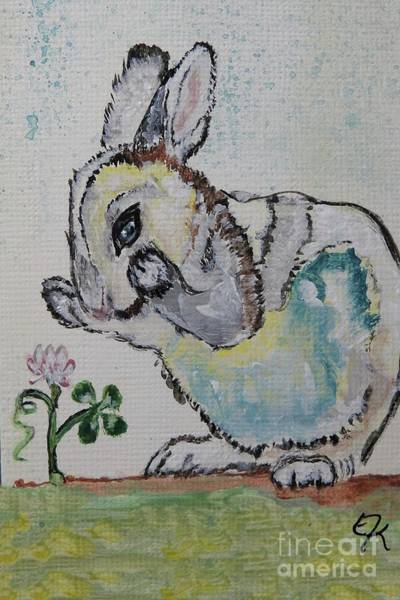 Lucky Clover Painting - Lucky Rabbit Painting Print #895 by Ella Kaye Dickey