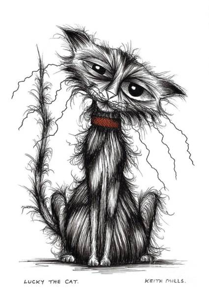 Miserable Drawing - Lucky The Cat by Keith Mills