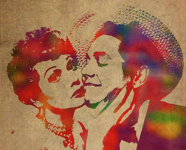 I Love Lucy Wall Art - Mixed Media - Lucy And Desi Watercolor Portrait by Design Turnpike