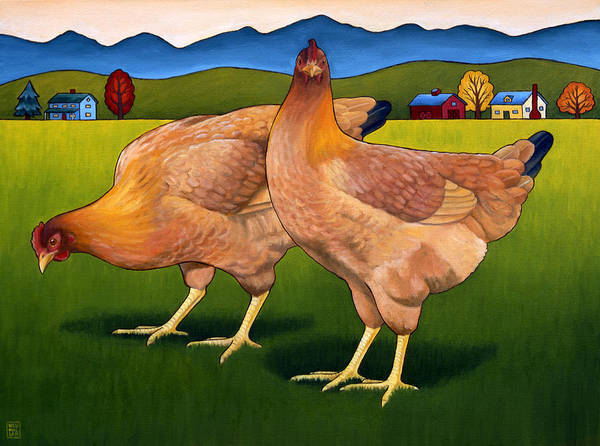 Hen Painting - Lucy And Ethel by Stacey Neumiller
