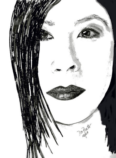 Drawing - Lucy Liu by Donna Proctor