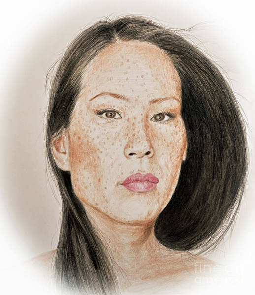 Freckle Drawing - Lucy Liu Freckled Beauty I by Jim Fitzpatrick