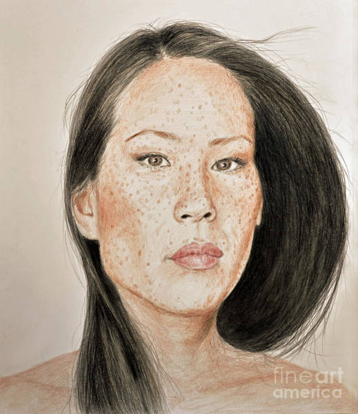 Freckle Drawing - Lucy Liu Freckled Beauty  by Jim Fitzpatrick