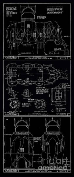 Digital Art - Lucy The Elephant Building Patent Blueprint 3 by Edward Fielding