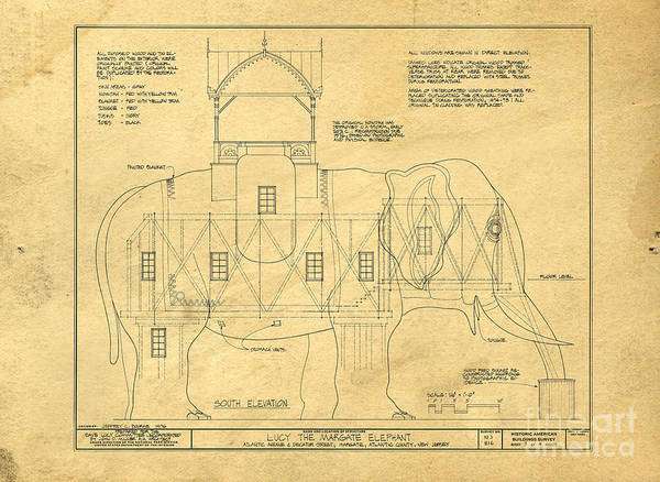 Photograph - Lucy The Elephant Building Patent Blueprint  by Edward Fielding