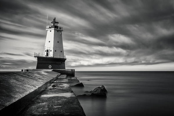 Photograph - Ludington Light Black And White by Adam Romanowicz