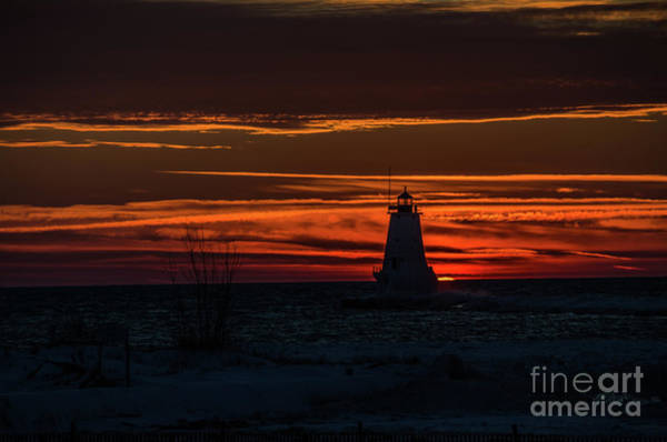 Photograph - Ludington Light Silhouette At Sunset by Sue Smith