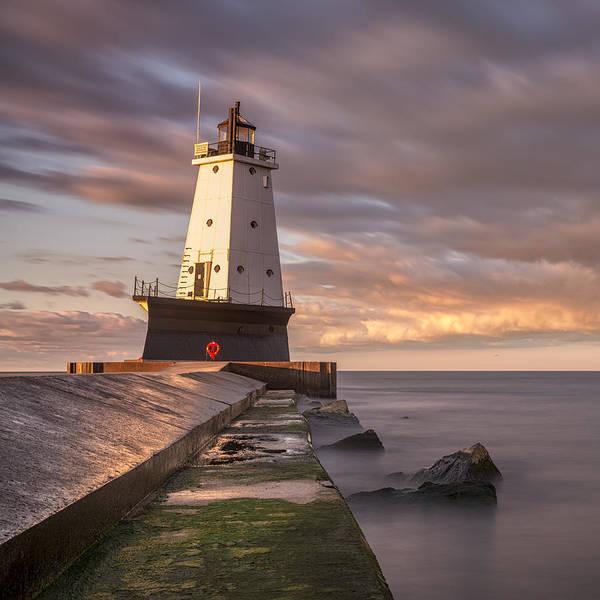 Photograph - Ludington North Breakwater Light At Dawn by Adam Romanowicz