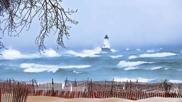 Ludington Winter Shore  Art Print