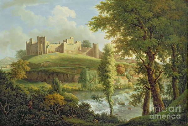 Castles Painting - Ludlow Castle With Dinham Weir by Samuel Scott