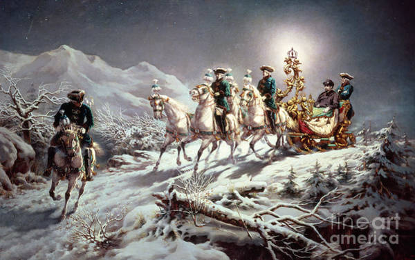 Wall Art - Painting - Ludwig II Of Bavaria Sleighing At Night From Neuschwanstein To Linderhof by Karl Gottlieb Wenig